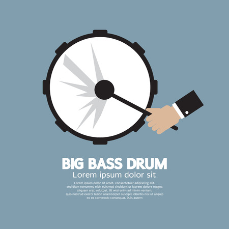 drum and bass: Big Bass Drum Music Instrument Vector Illustration