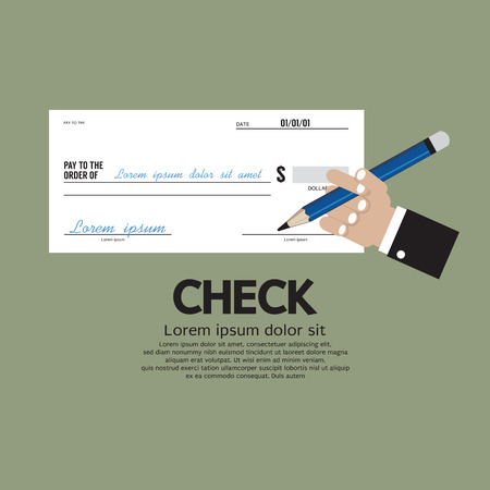 Hand Holding A Pencil With Check Vector Illustration