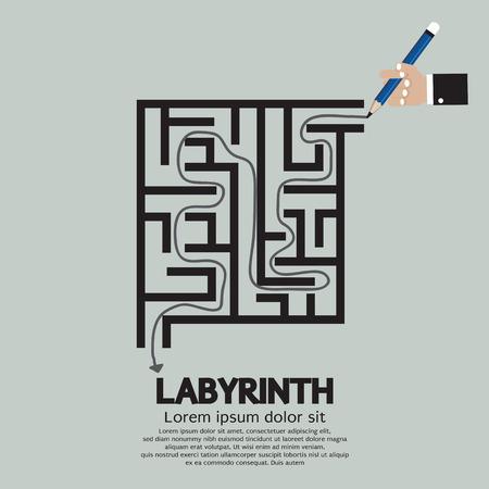 Maze Labyrinth Graphic Vector Illustration Vector