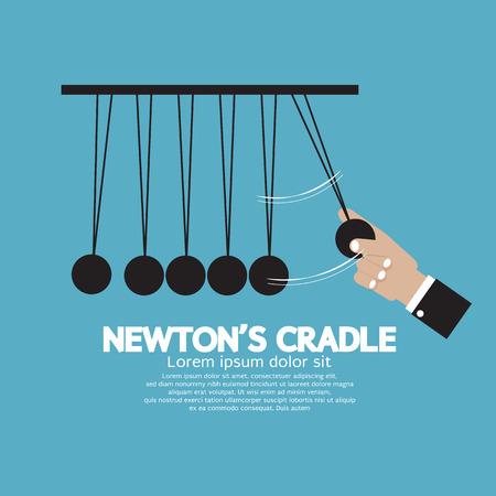 Flat Design Newton's Cradle Illustration