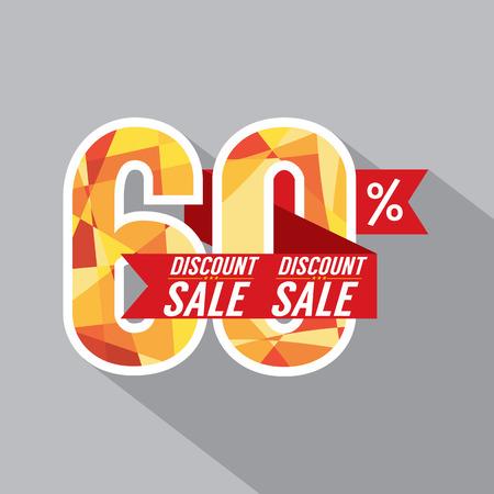 60: Desconto de 60 por cento fora ilustra��o vetorial