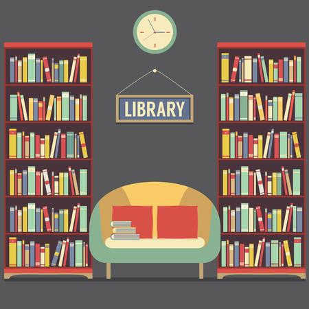 biblioteca: Empty Asiento Lectura En Biblioteca Ilustración vectorial Vectores