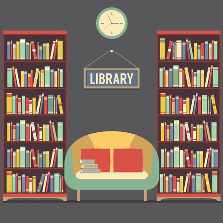 book shelf: Empty Reading Seat In Library Vector Illustration Illustration