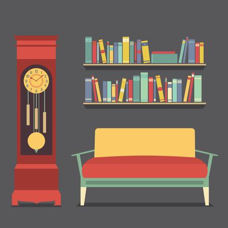 living room design: Living Room Interior Design Vector Illustration