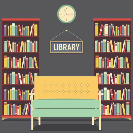 library shelf: Empty Reading Seat In Library Vector Illustration Illustration