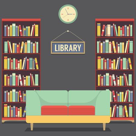 Empty Reading Seat In Library Vector Illustration Ilustracja