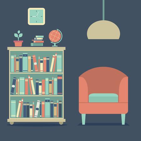 modern living room: Modern Design Interior Sofa And Bookcase Illustration