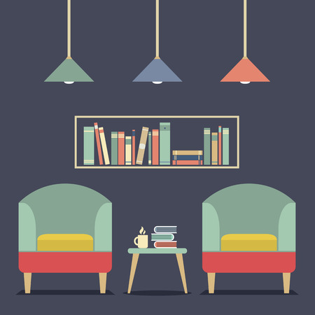 bookshelves: Modern Design Interior Chairs and Bookshelf Illustration