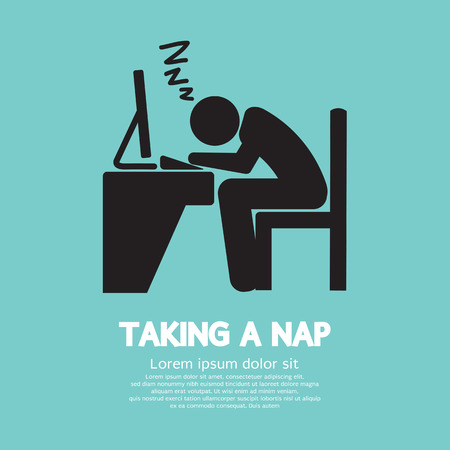 sleepy man: Taking a Nap Graphic Symbol Vector Illustration