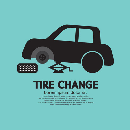 flat tyre: Tire Changing Graphic Vector Illustration