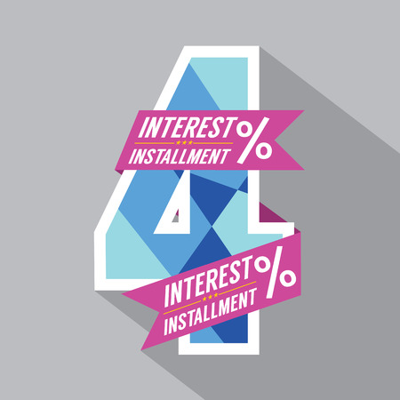 Four Percent Interest Installment Vector Illustration Vector