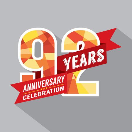 92: 92nd Years Anniversary Celebration Design