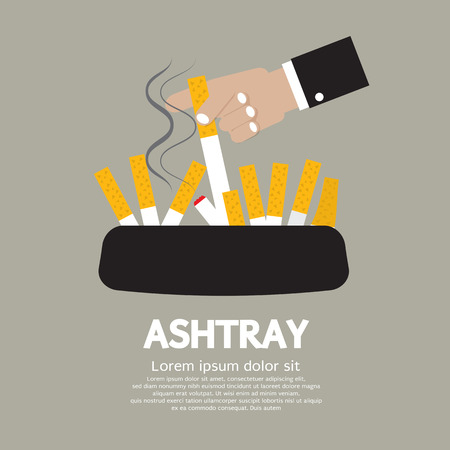 smoking stop: Ashtray With Cigarette Lighted Vector Illustration Illustration