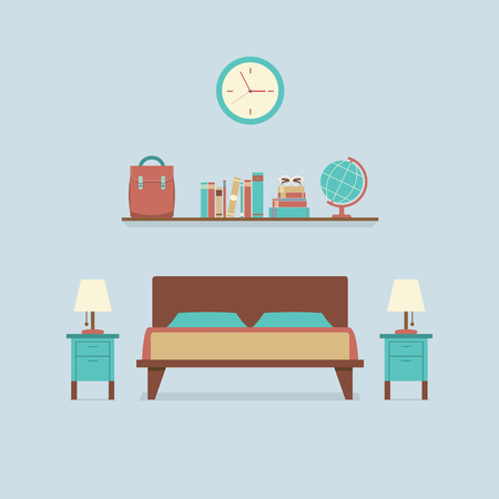 bedroom wall: Flat Design Bedroom Interior Vector Illustration