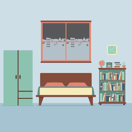 Flat Design Bedroom Interior Vector Illustration Vector