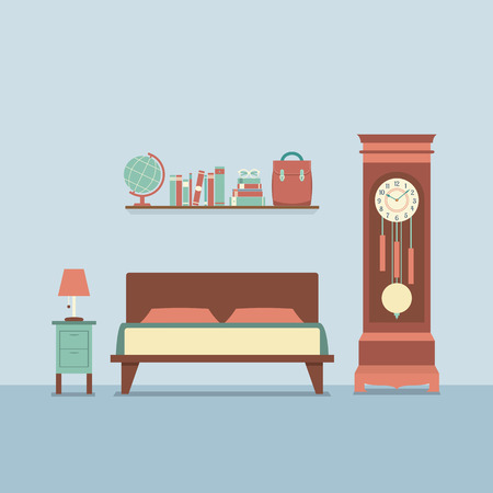 Flat Design Bedroom Interior Vector Illustration Vector