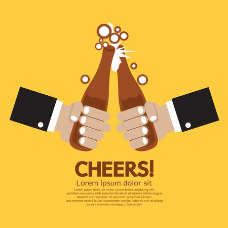 Cheering Of Two Bottles Beer Vector Illustration Illustration