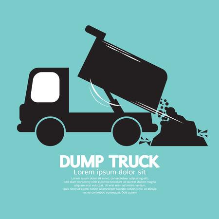 camion volteo: Dump Truck Llevada y descarga de material suelto Vectores