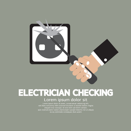 turn screw: Flat Design Electrician Checking Vector Illustration