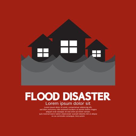 홍수 재해 벡터 일러스트 레이 션에서 건물의 잠기기 일러스트