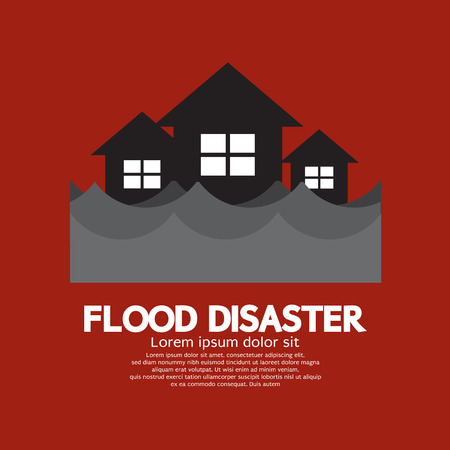 disaster: Building Soaking Under Flood Disaster Vector Illustration