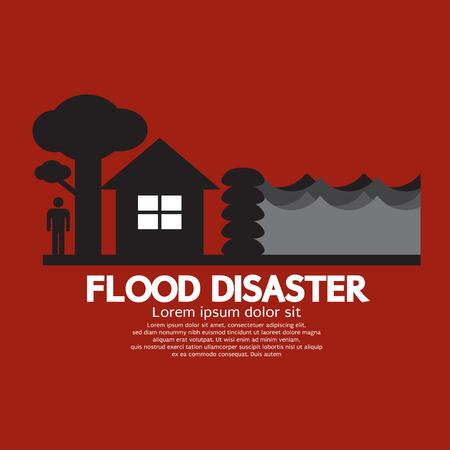 flood water: Flood Disaster With Sandbag Barrier Vector Illustration
