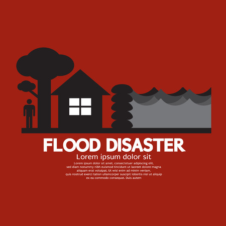 Flood Disaster With Sandbag Barrier Vector Illustration