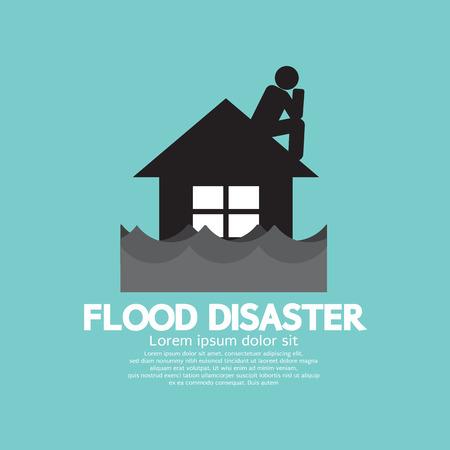 建物の洪水災害のベクトル図の下で浸漬  イラスト・ベクター素材