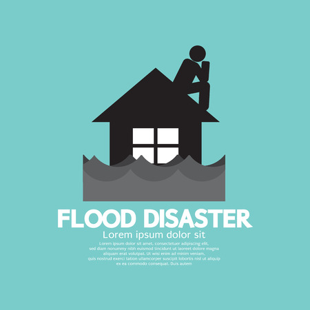 flood: Building Soaking Under Flood Disaster Vector Illustration