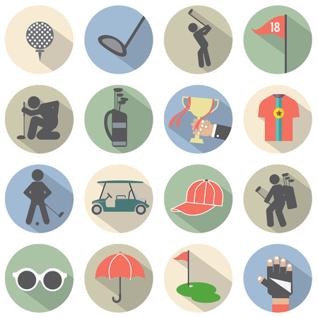 Modern Flat Design Golf Icon Set Vector Illustration Vector