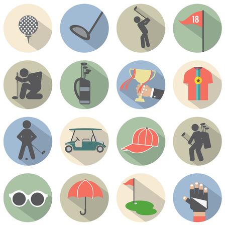 Modern Flat Design Golf Icon Set Vector Illustration Vector