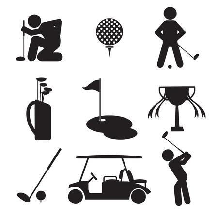 golf cart: Golf Icon Set Vector Illustration Illustration