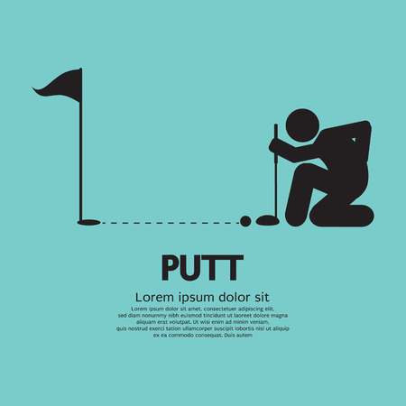 putting up: Golfer Lines Up Putt Symbol Vector Illustration