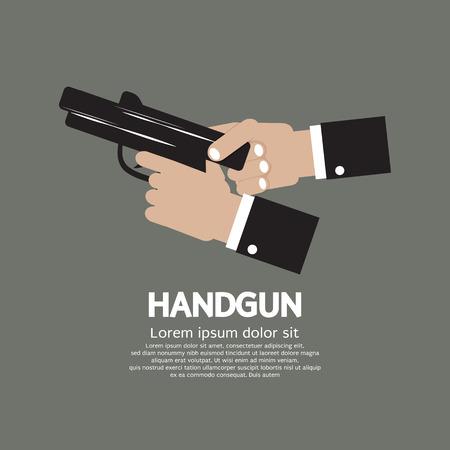 automatic pistol: Semi-Automatic Handgun Vector Illustration