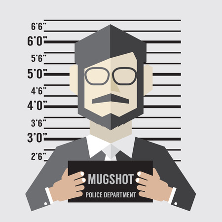 inmate: Mugshot Of Businessman Vector Illustration