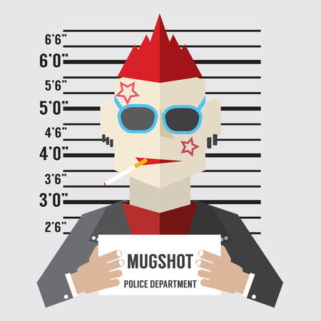 lineup: Mugshot Of Gangster Vector Illustration