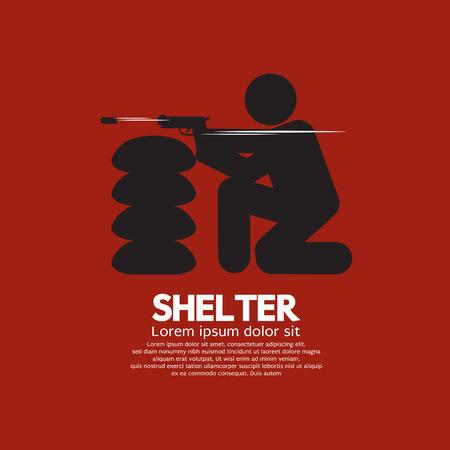 shelter: Sandbag Shelter With Gunman Vector Illustration