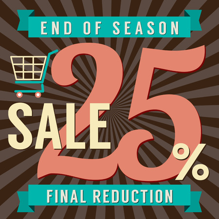 end of summer: 25 Percent End of Season Sale Vector Illustration Illustration