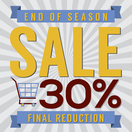 end of summer: 30 Percent End of Season Sale Vector Illustration