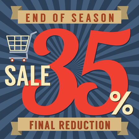 end of summer: 35 Percent End of Season Sale Vector Illustration Illustration