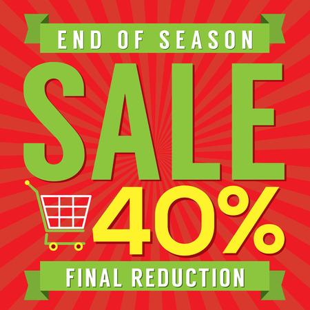 end of year: 40 Percent End of Season Sale Vector Illustration Illustration