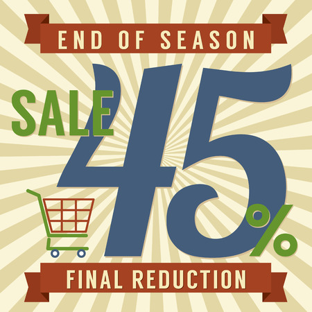 45 Percent End of Season Sale Vector Illustration Vector