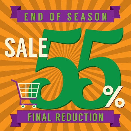 end of summer: 55 Percent End of Season Sale Vector Illustration Illustration