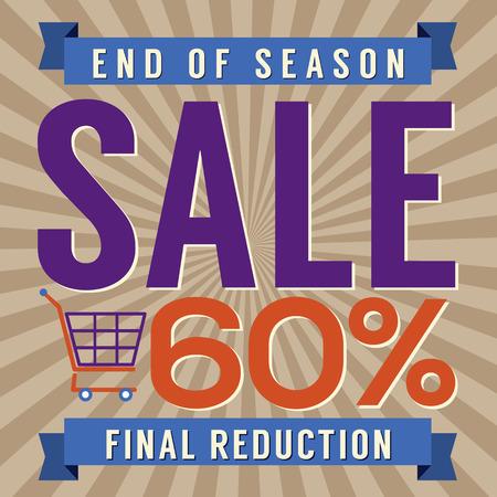 end of year: 60 Percent End of Season Sale Vector Illustration Illustration