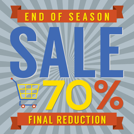 end of summer: 70 Percent End of Season Sale Vector Illustration