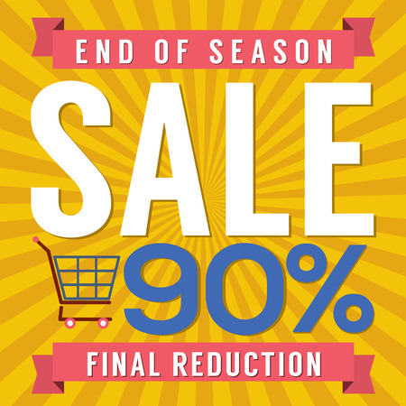 end of summer: 90 Percent End of Season Sale Vector Illustration