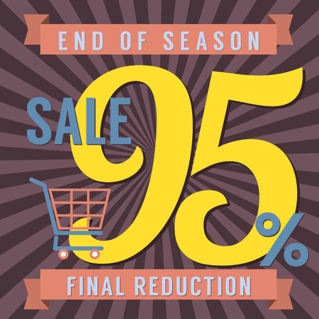 end of year: 95 Percent End of Season Sale Vector Illustration