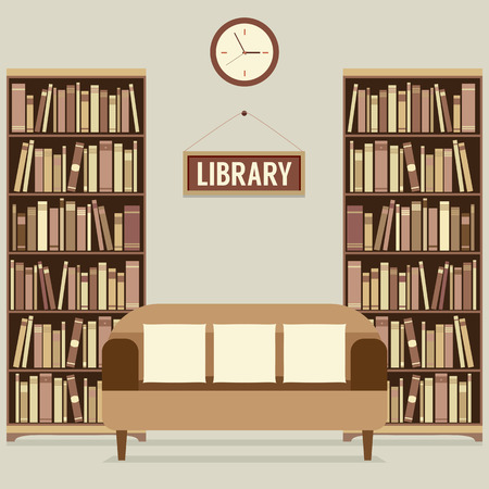 bookshelves: Empty Reading Seat In Library Vector Illustration Illustration