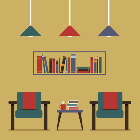 modern interieur: Modern Design Interior Chairs and Bookshelf Stock Illustratie