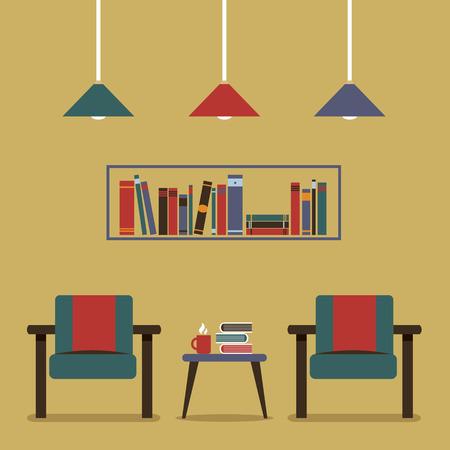 hot seat: Modern Design Interior Chairs and Bookshelf Illustration